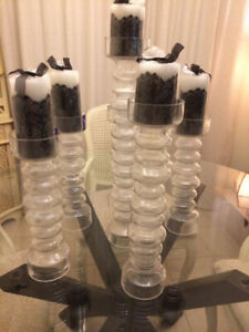 Brand New !!! Six Piece Candle Holder Set with Candles