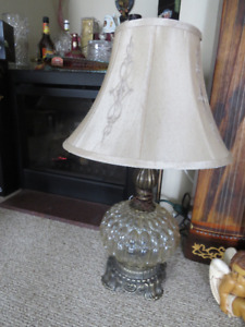 Pair of RETRO Vintage Clear glass globe lamps with night light
