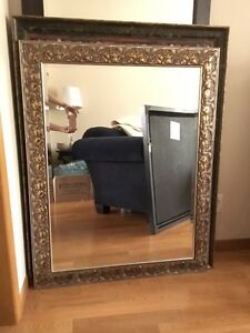 Large, bevelled wall mirror