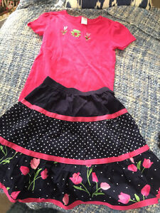 Gymboree skirt and 2 tops size7&8
