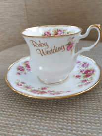 Queens Ruby wedding cup and saucer