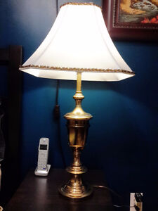 Brass table lamp, lampe de laiton antique, New silk shade!
