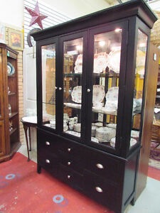 BLACK AND GLASS CHINA CABINET WITH STORAGE DRAWERS
