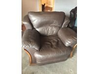 Brown leather 3 piece sofa and chair £30 NEED GONE URGENTLY TODMORDEN