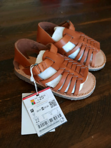 Zara *Brand New Toddler Roman Sandals, Tan, Size 6, Real Leather
