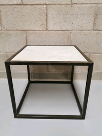 Furniture Village Wind Square White Marble Side End Table