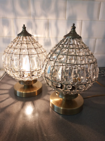 Pair of gold and chrystal lamps