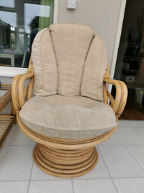 VINTAGE 1960S ANGRAVES STYLE BAMBOO ROCKING SWIVEL CHAIR