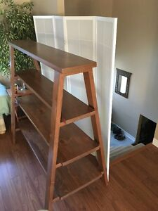 Custom-built hardwood bookcase, display shelf