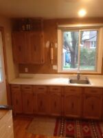 Kitchen cabinets, sink, faucet, and countertop.