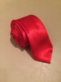 Satin Finish Skinny Red Tie