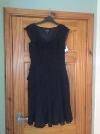Adrianna Papell Black Layered Chiffon Dress UK 8