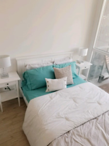 White double bed with Mattress & other items for sale