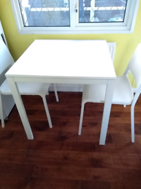 IKEA White Table and 2 Chairs