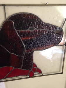 Stained Glass Dog Hanging Picture