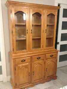 Solid Oak Table with Buffet and Hutch