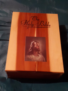 Crafted Wooden Box and Bible