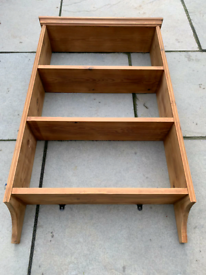 Vintage Shabby Waxed Pine Wall Mount Kitchen Plate Rack Wall Shelves