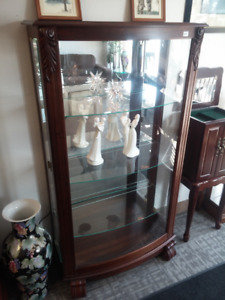Glass Curio Display Cabinet with Side Doors