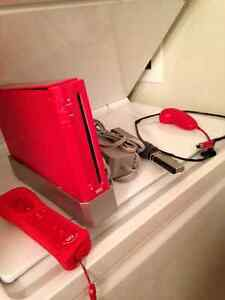 Red Nintendo Wii With Contents