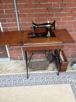Antique Singer sewing machine and wood top