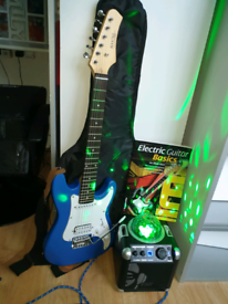 Electric guitar and disco speaker and mic