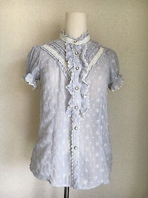 15.axes femme girly brand snow crystal embroidery on blue striped sheer blouse