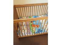 Cot bed, wardrobe and chest of drawers