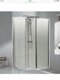 Walk-in glass shower enclosure and tray, brand new in boxes