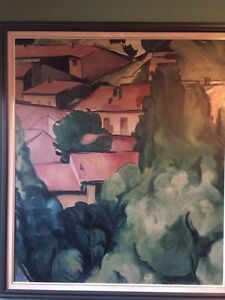 Large painting of suburban countryside