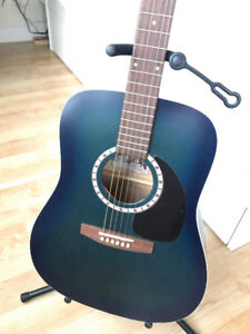 Rare Art & Lutherie Blue Acoustic Guitar with hard case