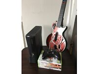 XBOX 360 new shape 4GB, 1 controller, guitar hero & games