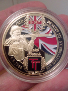 Large 40mm D-Day British Gold Beach 6.6.44 Coin.