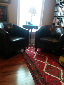 2 Leather Designer Tub Chairs