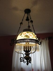 Antique Victorian Hanging English Library Light Hand Painted Kitchener / Waterloo Kitchener Area image 2