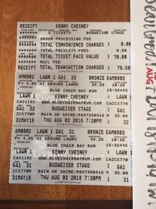 Kenny Chesney August 2nd Country Mega Tickets Lawns