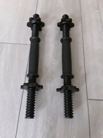 BRAND NEW SOLID STEEL DUMBBELL BARS WITH METAL SPINLOCKS