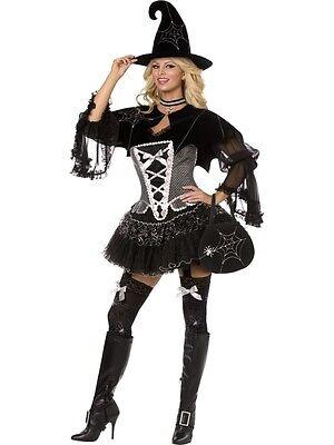 Fever Spiderweb Witch Costume UK 12/14 Deluxe 5 piece UNIQUE Ladies Fancy Dress