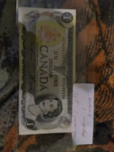 Vintage Canadian $1 Note Macquarie Belconnen Area Preview