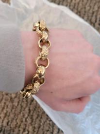 9ct gold patterned belcher hallmark stamped