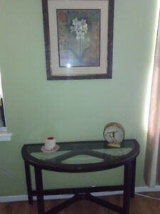 1/2 Round Wood & Glass Entry Table