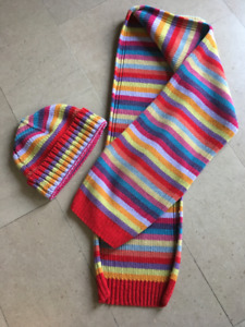 Rainbow Chenille knit hat scarf set - Gently used