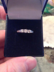 "Women's ""Past, Present, Future"" 14k White Gold Diamond Ring"