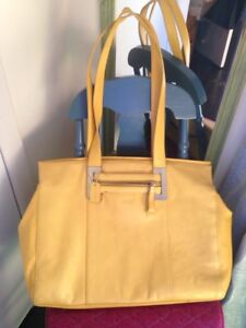 Xtra large yellow Italian leather brief case/purse