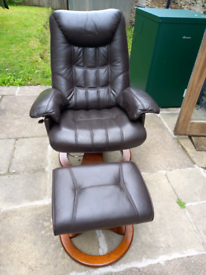 Leather reclining swivel chair and footstool