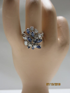LADIES 18KT WHITE GOLD, DIAMOND AND BLUE SAPPHIRE RING