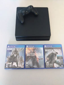 PS4 with Controller, Battlefield 1, Destiny and Watch Dogs