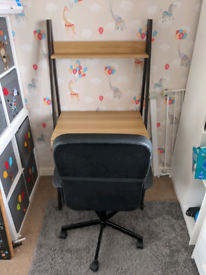Office desk and desk chair with back support