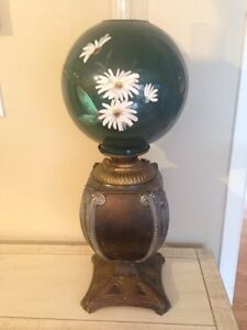 Rare antique brass oil lamp, Glass globes included