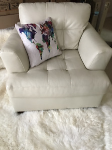 Cream Leather Living Room Chair